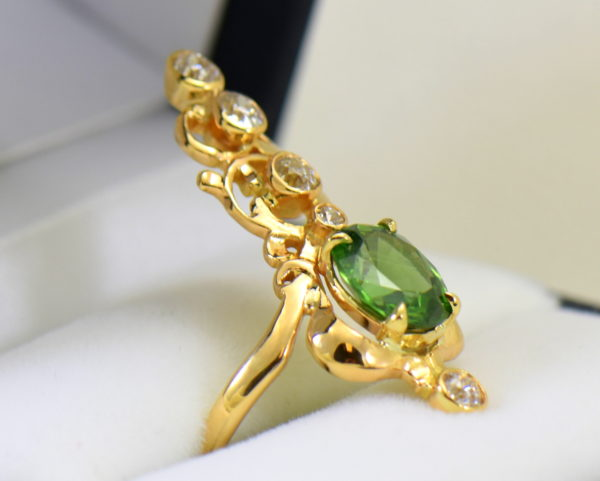 art nouveau dinner ring with green zircon and mine cut diamonds in floral yellow gold 3.JPG 1