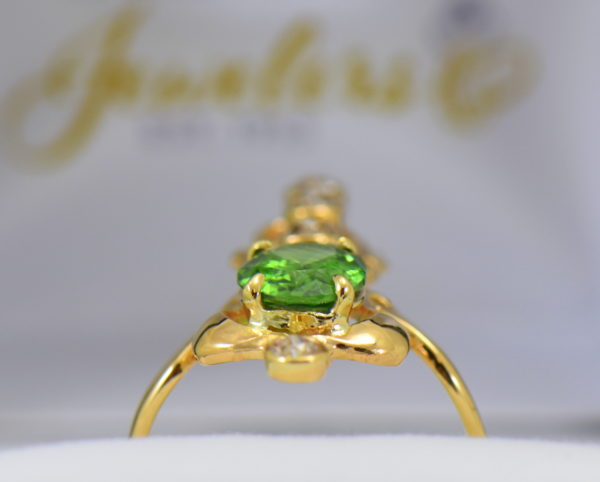 art nouveau dinner ring with green zircon and mine cut diamonds in floral yellow gold 4.JPG 1