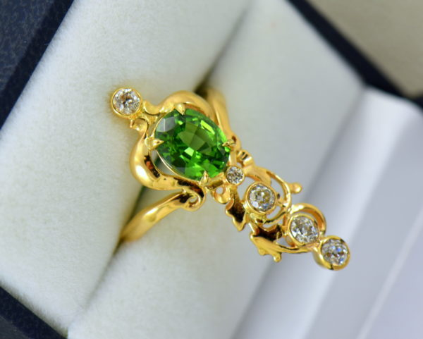 art nouveau dinner ring with green zircon and mine cut diamonds in floral yellow gold 6.JPG