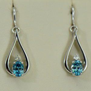 custom blue zircon and diamond dangle earrings 14kw.JPG