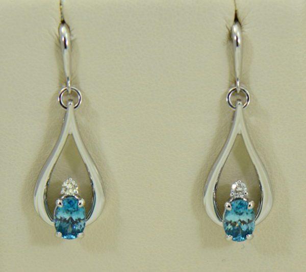 custom blue zircon and diamond dangle earrings 14kw 2.JPG