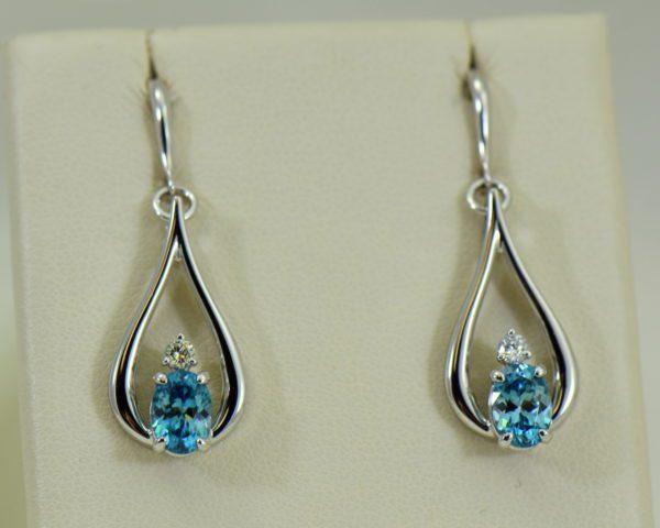 custom blue zircon and diamond dangle earrings 14kw 4.JPG