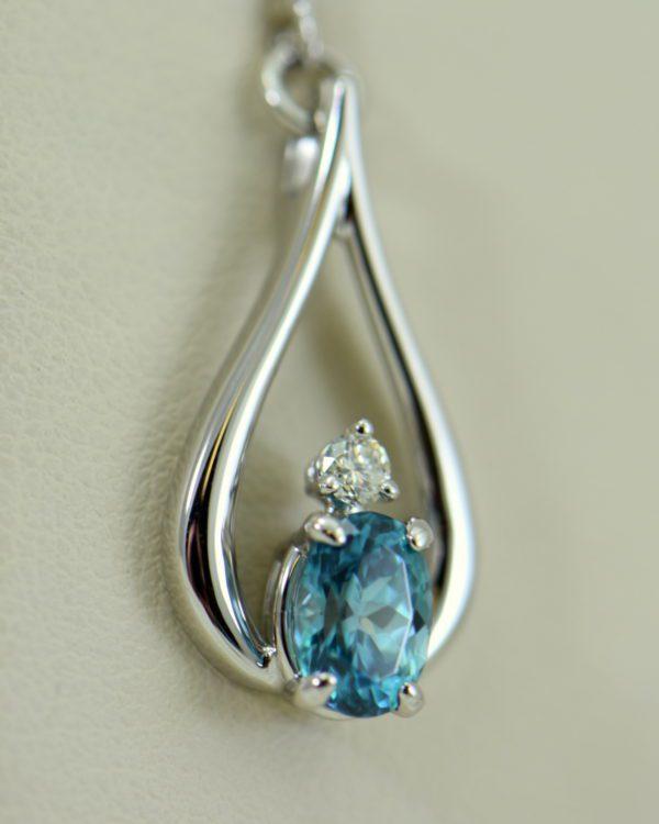 custom blue zircon and diamond dangle earrings 14kw 5.JPG
