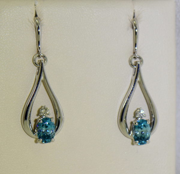 custom blue zircon and diamond dangle earrings 14kw 6.JPG