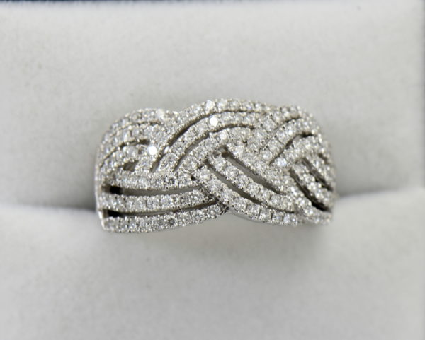 diamond right hand ring with basket weave pattern 1.37ctw white gold.JPG