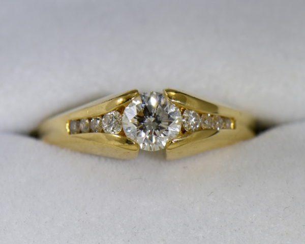 estate custom 18k engagement ring with .7ct round diamond and euroshank.JPG