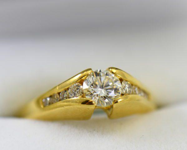 estate custom 18k engagement ring with .7ct round diamond and euroshank 2.JPG