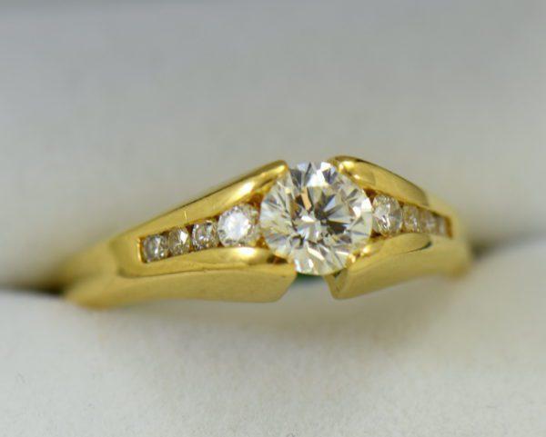 estate custom 18k engagement ring with .7ct round diamond and euroshank 6.JPG