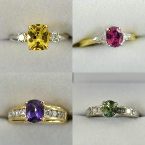 Yellow Sapphire in Platinum with Diamonds, Pink Sapphire in Yellow Gold with diamonds, Purple Sapphire in yellow gold with diamonds, Mint Sapphire in White Gold with Diamonds