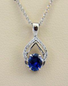 Dainty Blue Sapphire Diamond Embrace Pendant 5