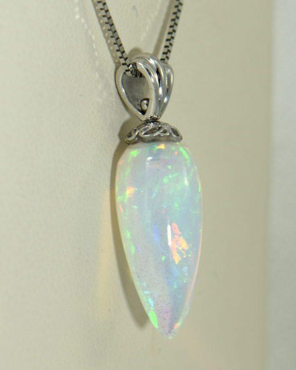 Reversible Opal Pendant in 14k white gold Carrot Shaped 4.JPG