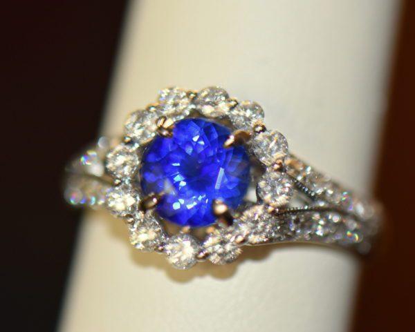 Round blue sapphire diamond halo engagement ring in white gold 5.JPG