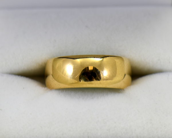 antique 7mm wide yellow gold wedding band.JPG
