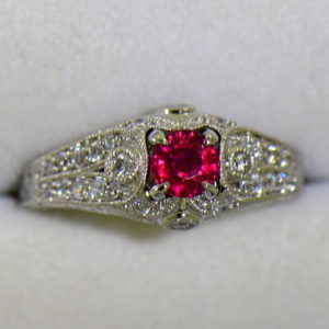 art deco style natural ruby and diamond ring in white gold 2.JPG