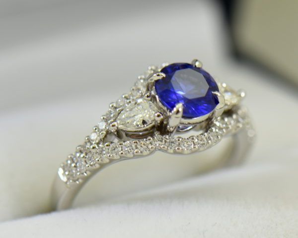 blue violet round sapphire and pear diamond engagement ring 2.JPG