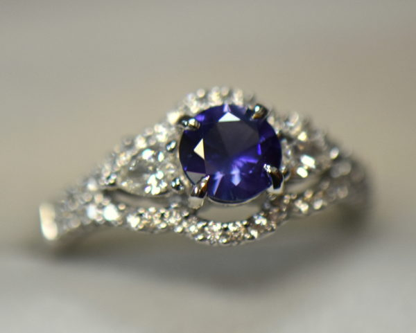 blue violet round sapphire and pear diamond engagement ring 4.JPG