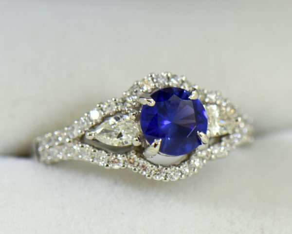 blue violet round sapphire and pear diamond engagement ring 6.JPG