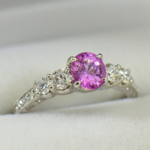 bubblegum pink sapphire engagement ring in white gold with diamonds.JPG