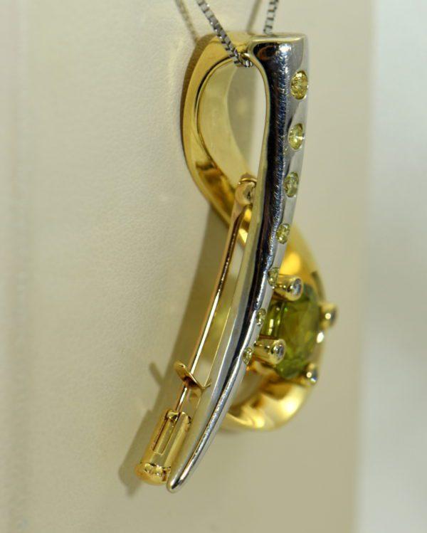 custom designed pin or pendant with sphene and yellow diamonds treble clef 5.JPG