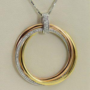 effy tricolor gold diamond circle pendant three woven discs 14k.JPG