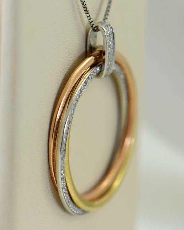 effy tricolor gold diamond circle pendant three woven discs 14k 2.JPG