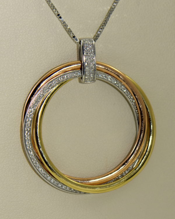 effy tricolor gold diamond circle pendant three woven discs 14k 3.JPG