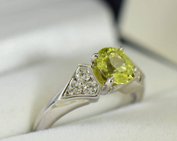 golden yellow chrysoberyl engagement ring with diamond shield accents 2.JPG