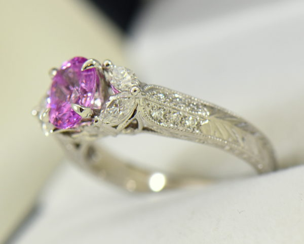 orchid pink sapphire and marquise diamond engangement ring in carved white gold 3.JPG