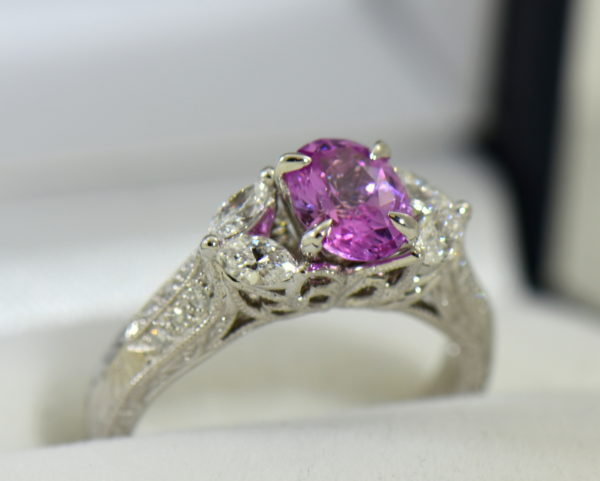 orchid pink sapphire and marquise diamond engangement ring in carved white gold 4.JPG