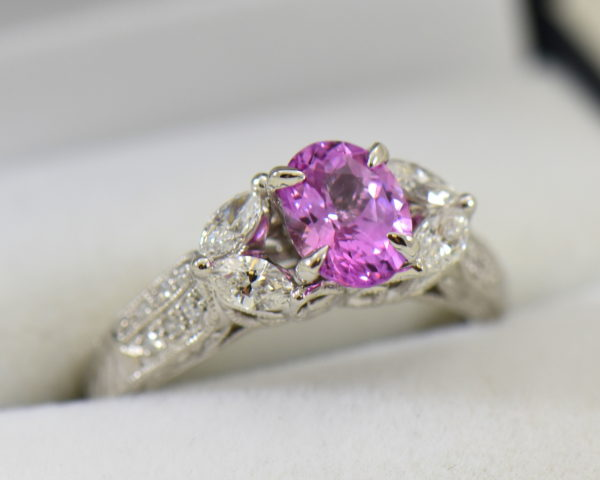 orchid pink sapphire and marquise diamond engangement ring in carved white gold 6.JPG