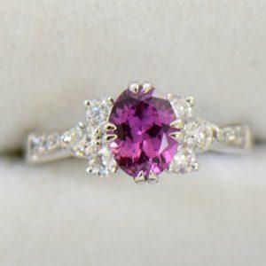 plum purple sapphire and diamond engagement ring in white gold.JPG