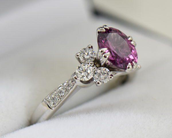 plum purple sapphire and diamond engagement ring in white gold 3.JPG
