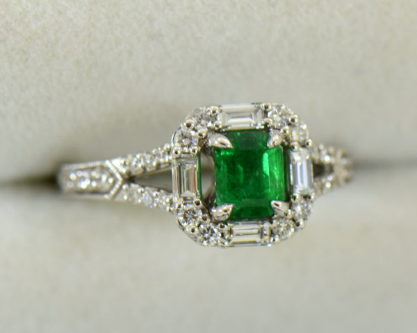 radiant cut natural emerald in baguette diamond halo engagement ring 2.JPG