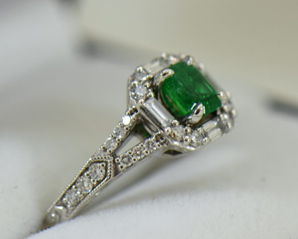 radiant cut natural emerald in baguette diamond halo engagement ring 3.JPG