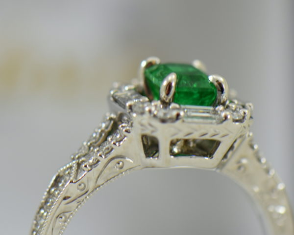 radiant cut natural emerald in baguette diamond halo engagement ring 4.JPG