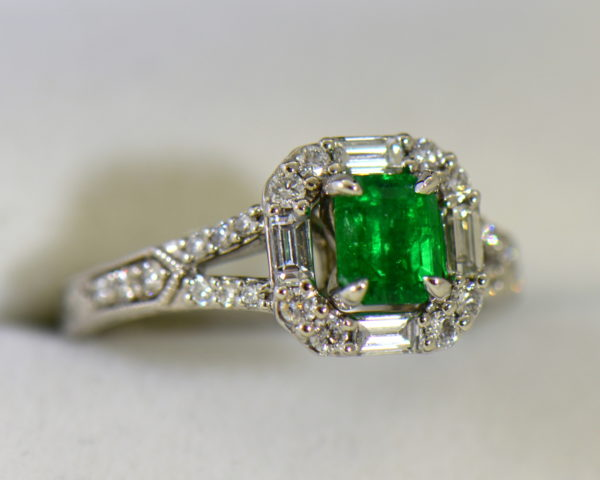 radiant cut natural emerald in baguette diamond halo engagement ring 5.JPG