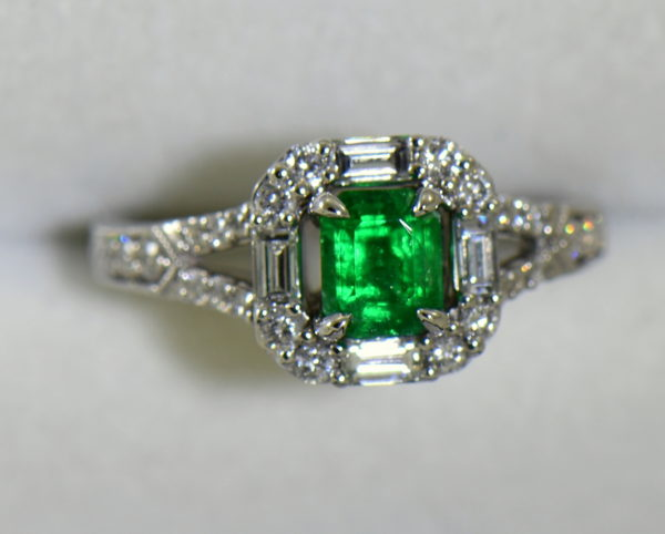 radiant cut natural emerald in baguette diamond halo engagement ring 6.JPG