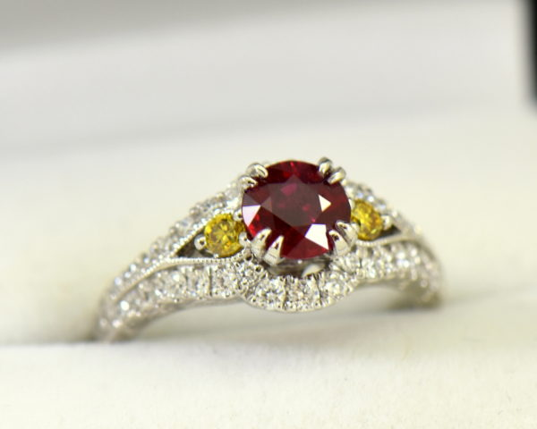 vintage style natural ruby ring with white yellow diamonds.JPG
