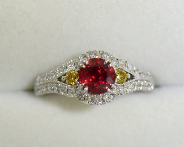 vintage style natural ruby ring with white yellow diamonds 2.JPG