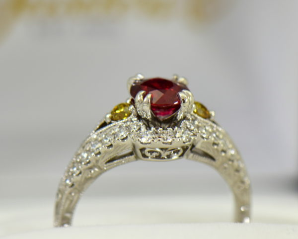 vintage style natural ruby ring with white yellow diamonds 3.JPG