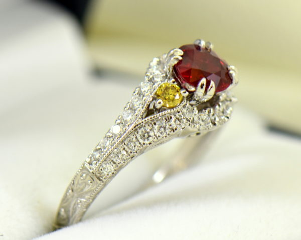 vintage style natural ruby ring with white yellow diamonds 4.JPG