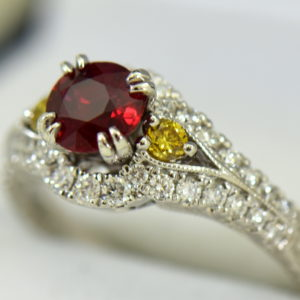 vintage style natural ruby ring with white yellow diamonds 5.JPG