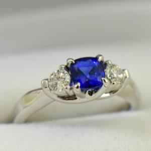 white gold square cushion sapphire diamond three stone ring.JPG