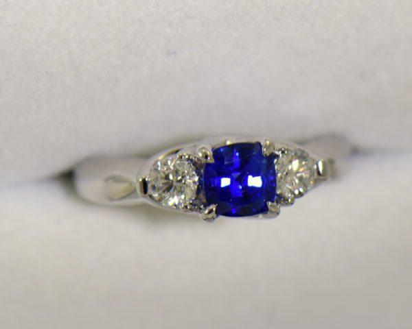 white gold square cushion sapphire diamond three stone ring 3.JPG