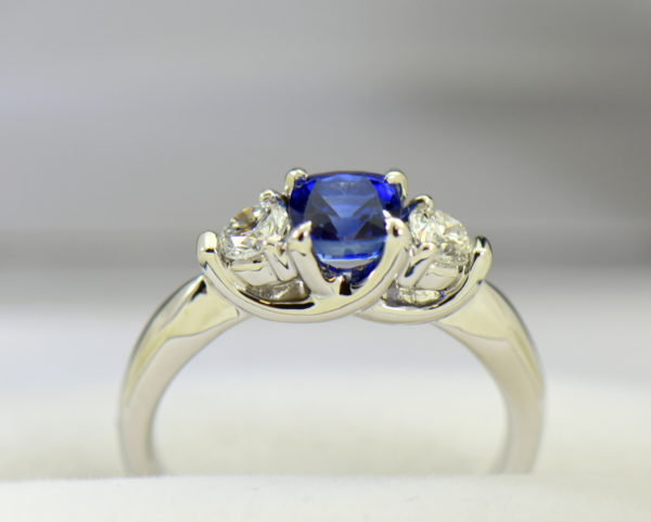 white gold square cushion sapphire diamond three stone ring 4.JPG