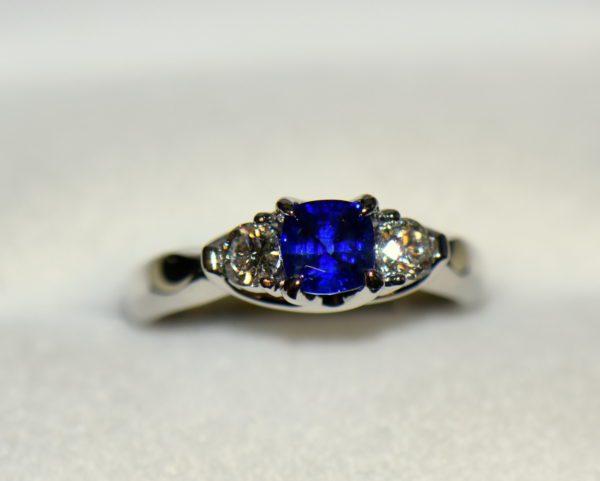 white gold square cushion sapphire diamond three stone ring 5.JPG