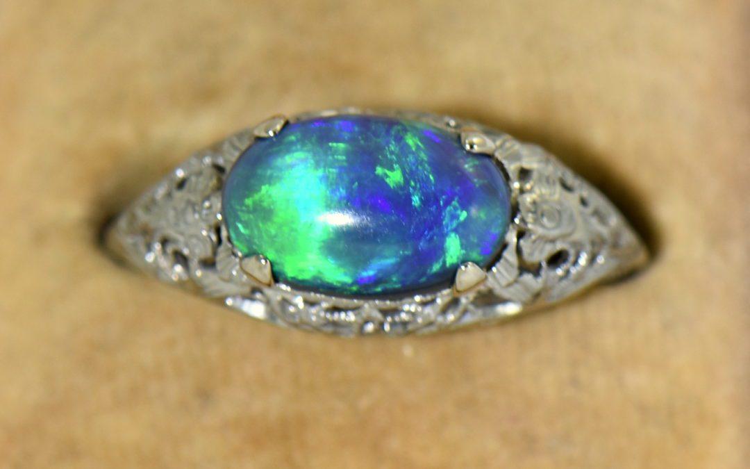 Art Deco Filigree Ring with Lightning Ridge Peacock Color Black Opal 3