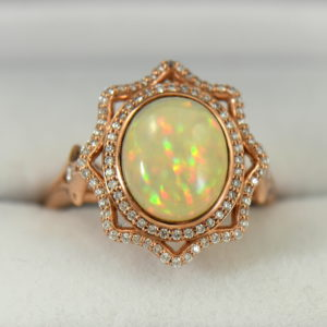 Ethiopian Opal Cocktail Ring Rose Gold